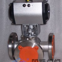 Q644.45型不锈钢气动三通切断球阀T型,L型